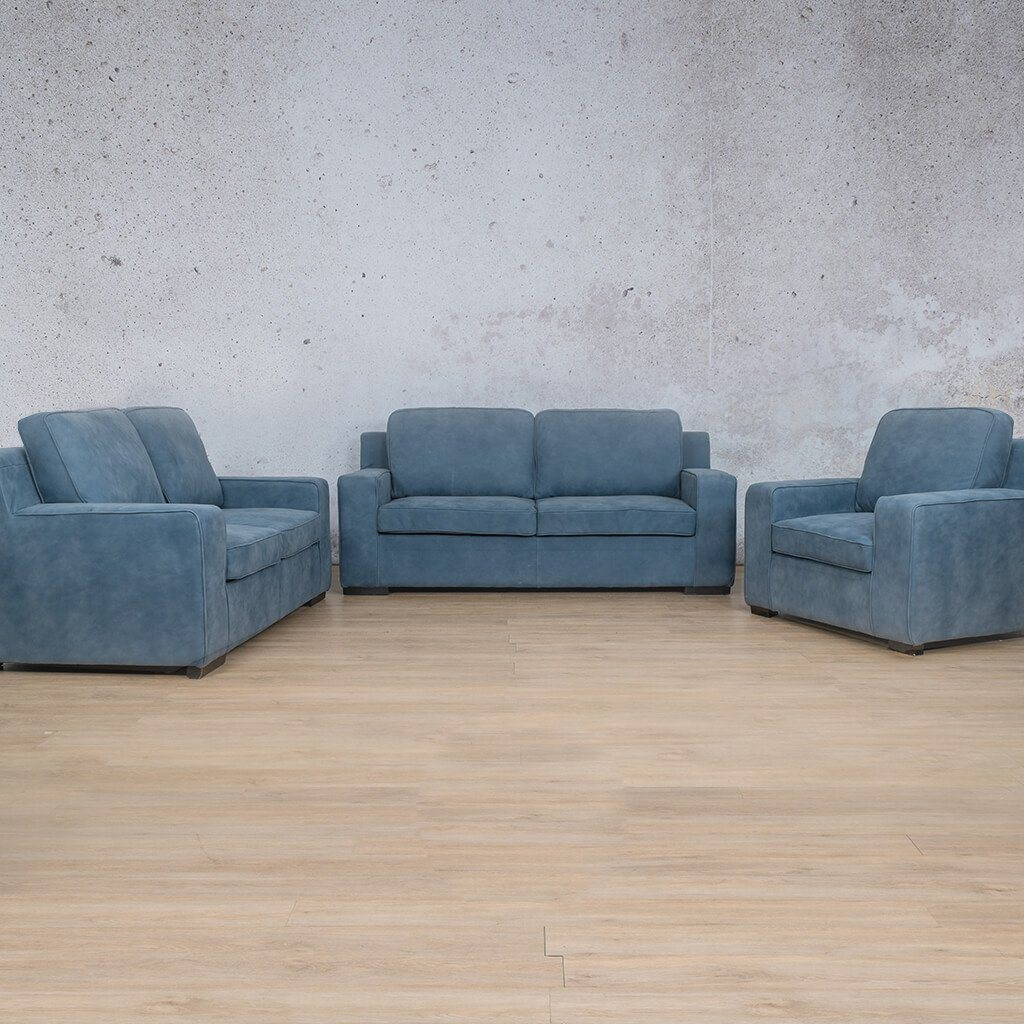 Arizona Leather Couch | 3+2+1 Suite | Flux Blue | Leather Gallery