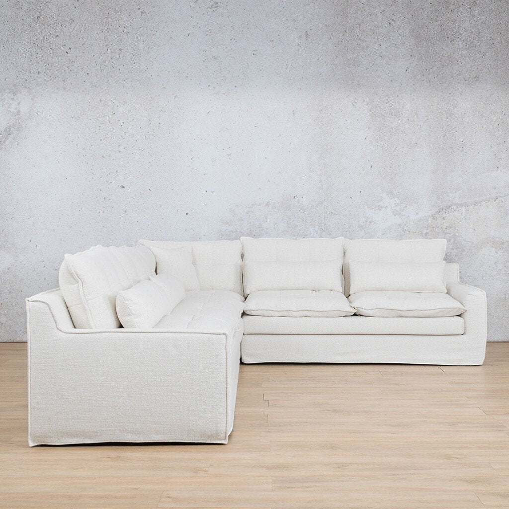 Brooklyn Fabric Corner Couch | L-Sectional 5 Seater Couch | Papyrus | Side | Couches For Sale | Leather Gallery Couches