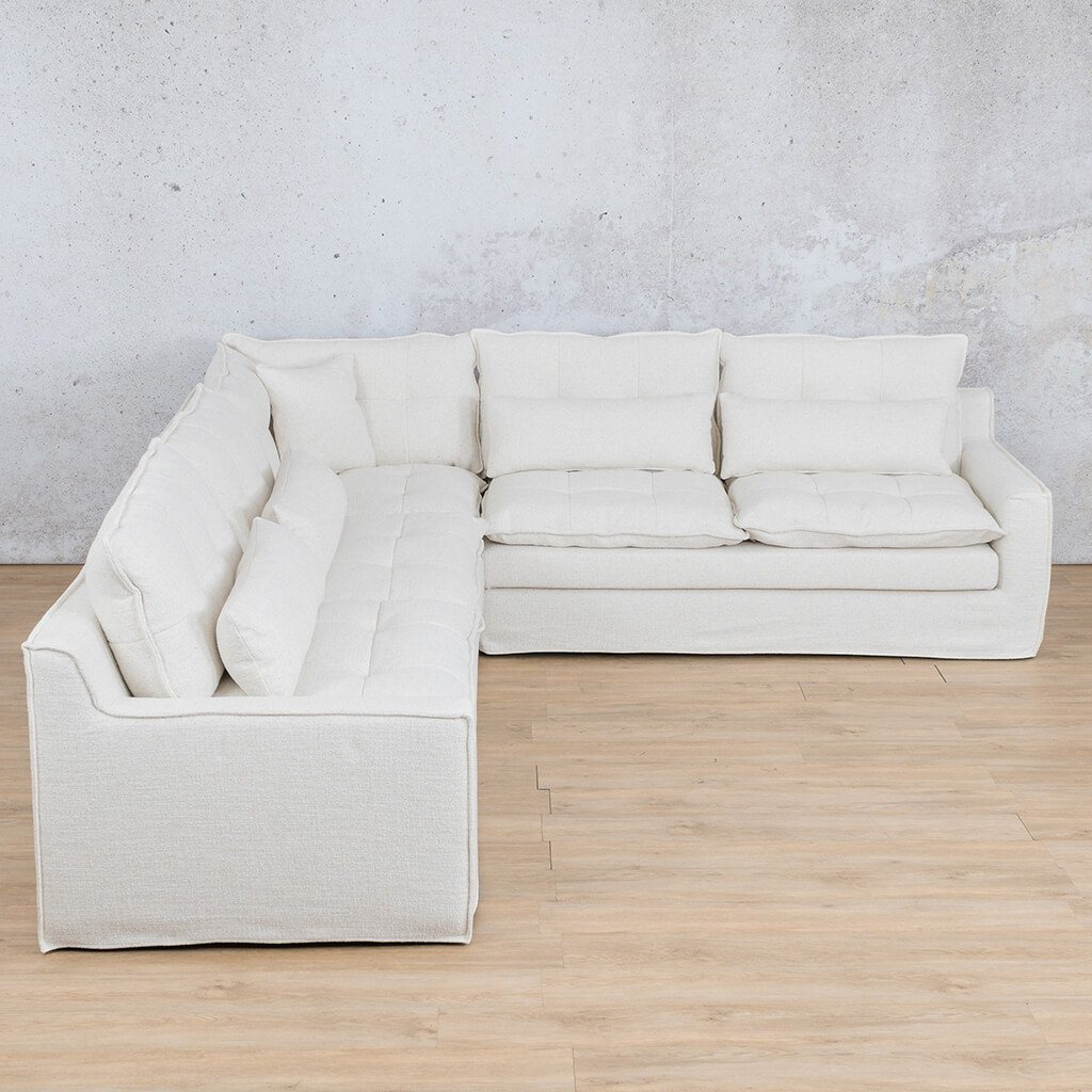 Brooklyn Fabric Corner Couch | L-Sectional 5 Seater Couch | Papyrus | Couches For Sale | Leather Gallery Couches
