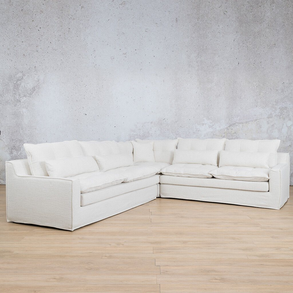 Brooklyn Fabric Corner Couch | L-Sectional 5 Seater Couch | Papyrus | Front Angled | Couches For Sale | Leather Gallery Couches