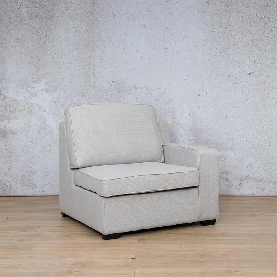 Arizona Fabric | 1 Seater Left Arm Angled | Oyster | Leather Gallery