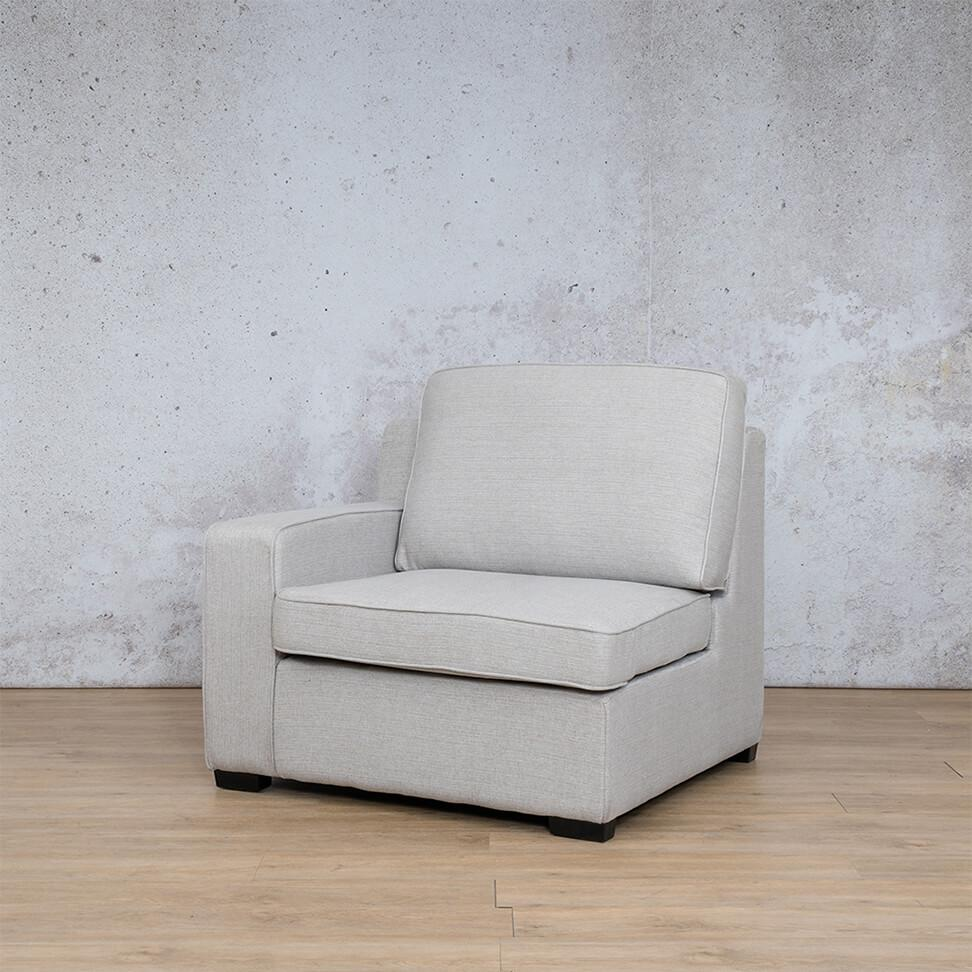 Arizona Fabric | 1 Seater Right Arm Angled | Oyster | Leather Gallery