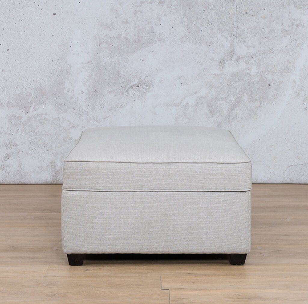 Arizona Fabric | Ottoman Front | Oyster | Leather Gallery