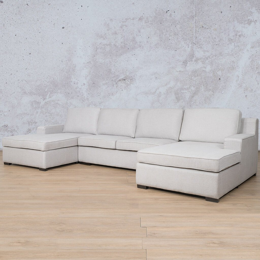 Arizona Fabric Corner Couch | U-Chaise Sectional | Oyster-A | Front Angled | Couches For Sale | Leather Gallery Couches