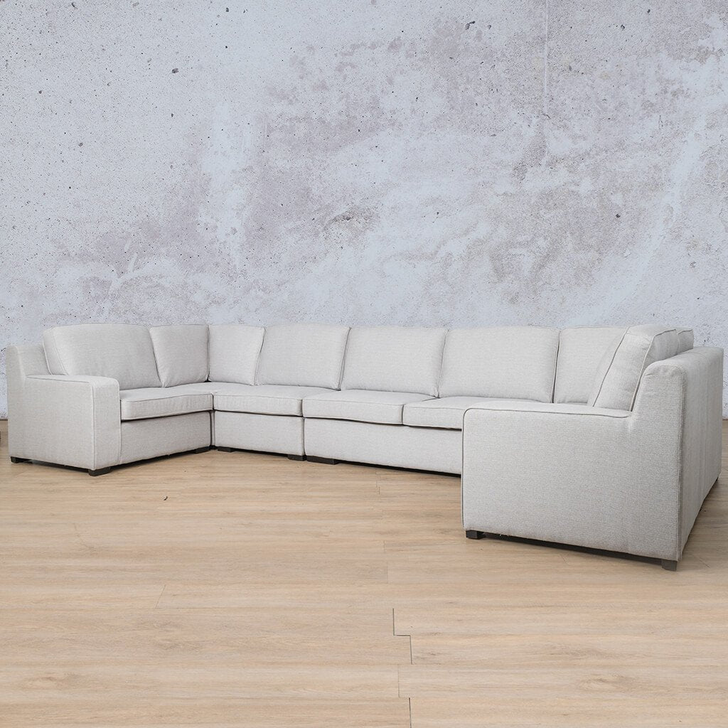 Arizona Fabric Corner Couch | Modular U-Sofa Sectional | Oyster-A | Front Angled | Couches For Sale | Leather Gallery Couches