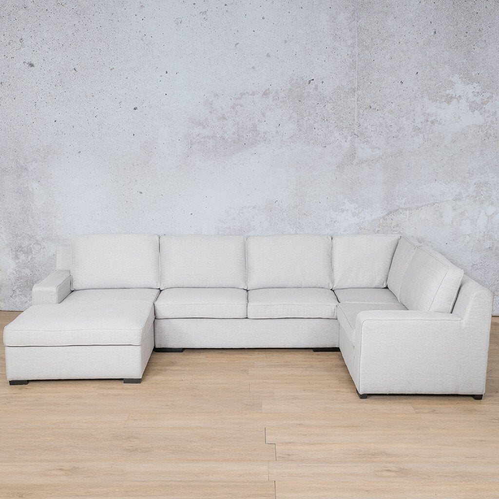Arizona Fabric Corner Couch | U-Sofa Chaise Sectional-LHF | Oyster-A | Couches For Sale | Leather Gallery Couches