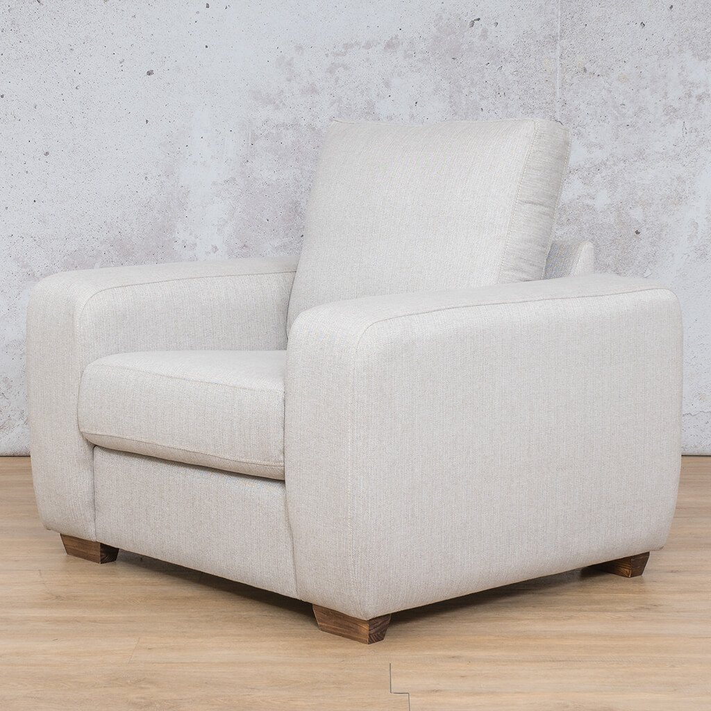 Stanford Fabric Couch | 1 seater couch | Oyster | Front Angled |Couches for Sale | Leather Gallery Couches