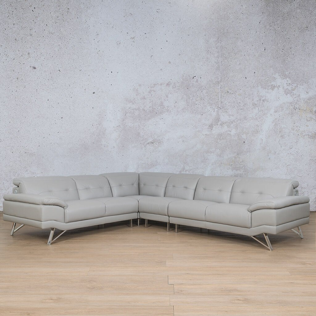 Malina Leather Corner Couch | Sectional | Grey-Man | Front Angled | Couches For Sale | Leather Gallery Couches