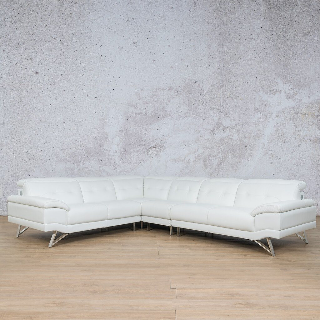 San Pablo Leather Corner Couch | Sectional | White-SP | Front Angled | Couches For Sale | Leather Gallery Couches