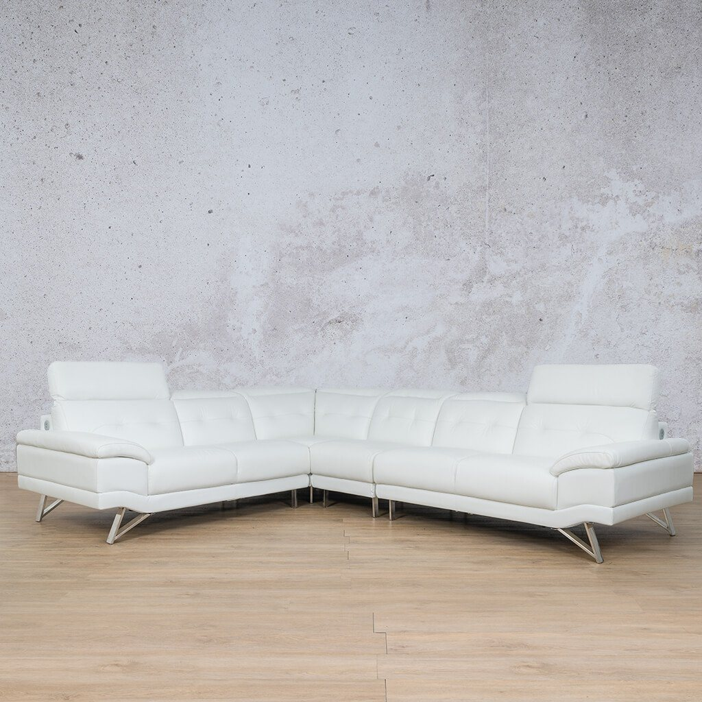 Malina Leather Corner Couch | Sectional | White-Man | Couches For Sale | Leather Gallery Couches