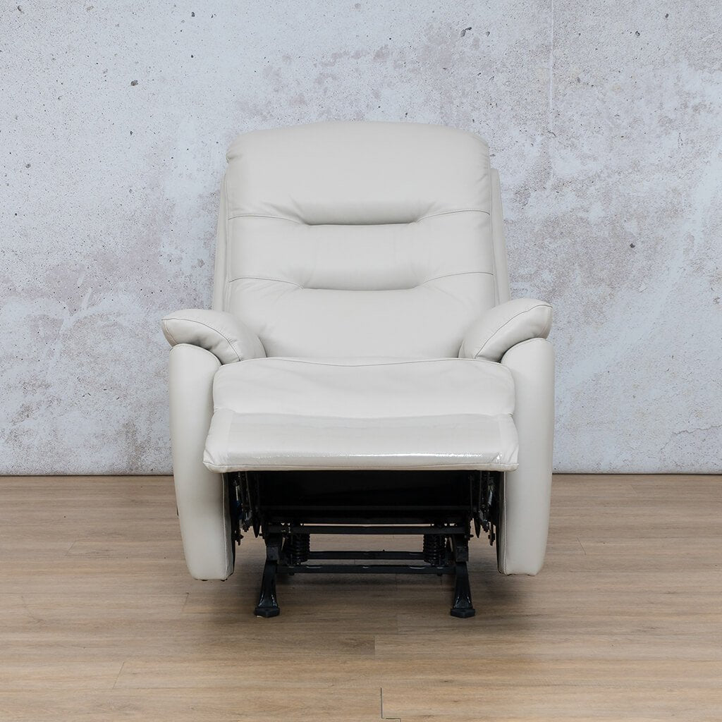 Dallas Leather Couch | 1 Seater Recliner Open | Beige | Leather Gallery