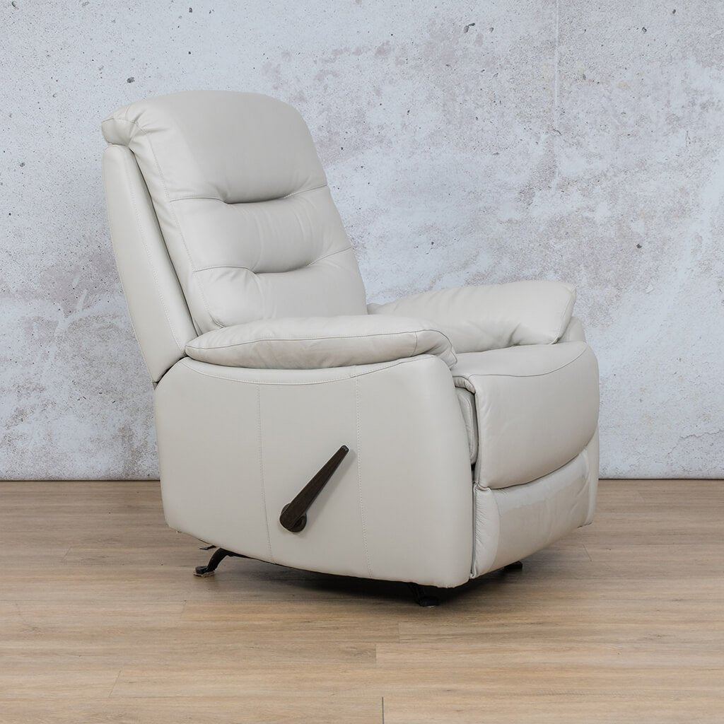 Dallas Leather Couch | 1 Seater Recliner Angled | Beige | Leather Gallery
