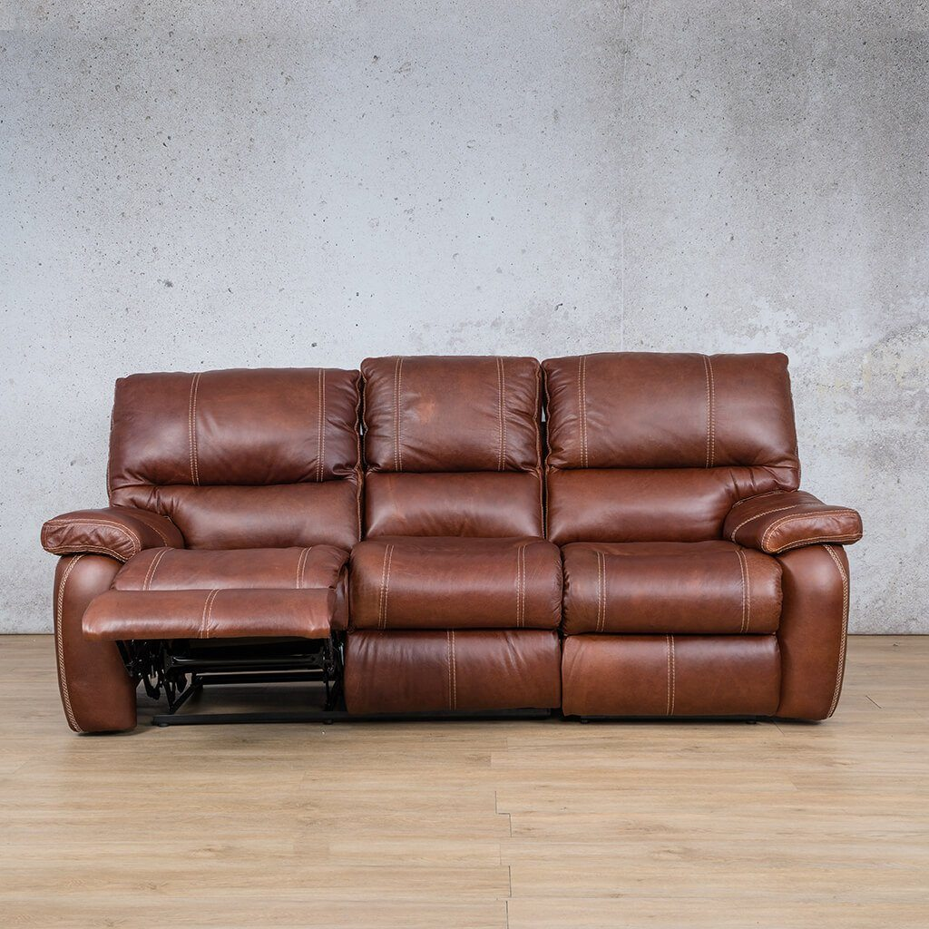 Senora Leather Recliner Couch | 3 Seater Couch | Odingo Bark-S | Open | Couches For Sale | Leather Gallery Couches