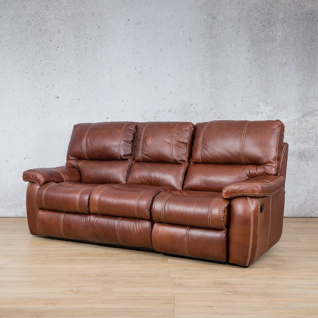 Senora Leather Recliner Couch | 3 Seater Couch | Odingo Bark-S | Front Angled | Couches For Sale | Leather Gallery Couches