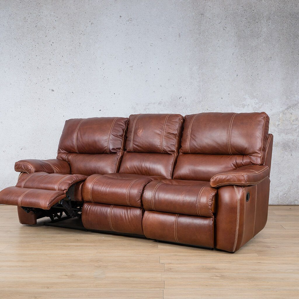 Senora Leather Recliner Couch | 3 Seater Home Theatre | Odingo Bark-S | Front Angled | Couches For Sale | Leather Gallery Couches