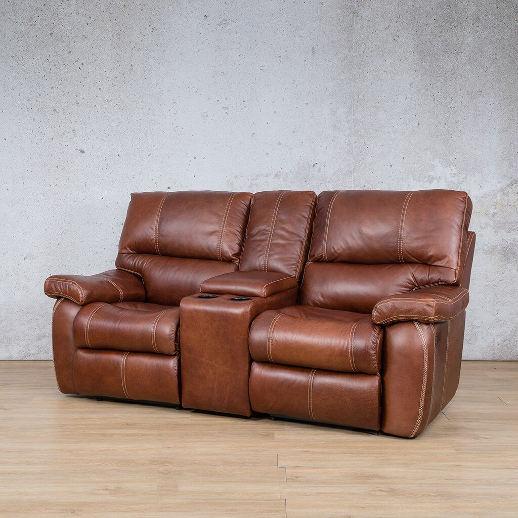Senora Leather Recliner Couch | 2 Seater Home Theatre | Odingo Bark-S | Front Angled | Couches For Sale | Leather Gallery Couches