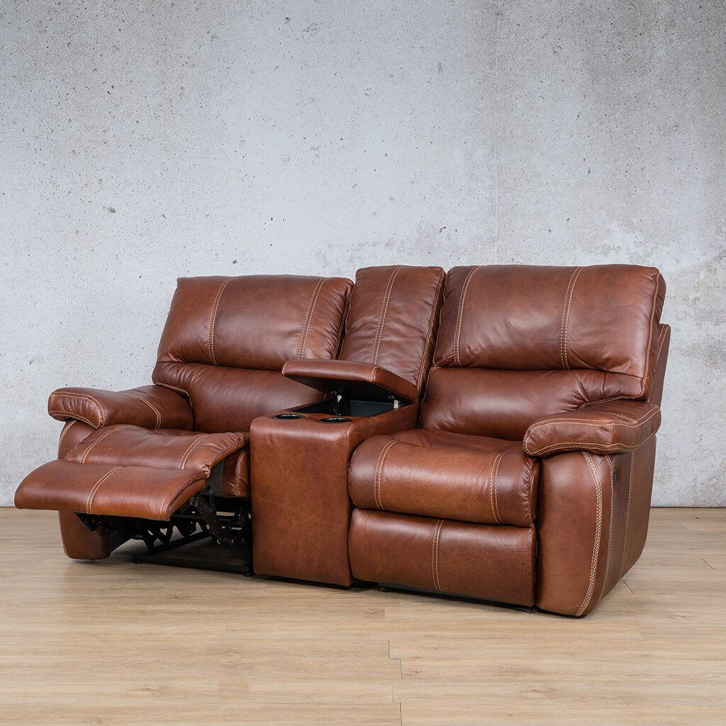 Senora Leather Recliner Couch | 2 Seater Home Theatre | Odingo Bark-S | Open Front Angled | Couches For Sale | Leather Gallery Couches