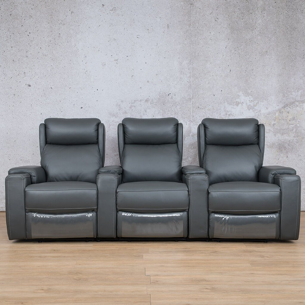 Vegas Leather Recliner Couch | 3 Seater Home Theatre | Charcoal-V | Couches For Sale | Leather Gallery Couches