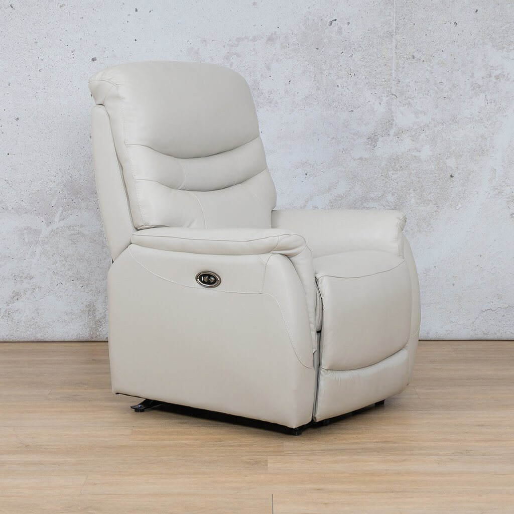 Seattle Leather Recliner Couch | 1 Seater Couch | Beige-S | Front Angled | Couches For Sale | Leather Gallery Couches