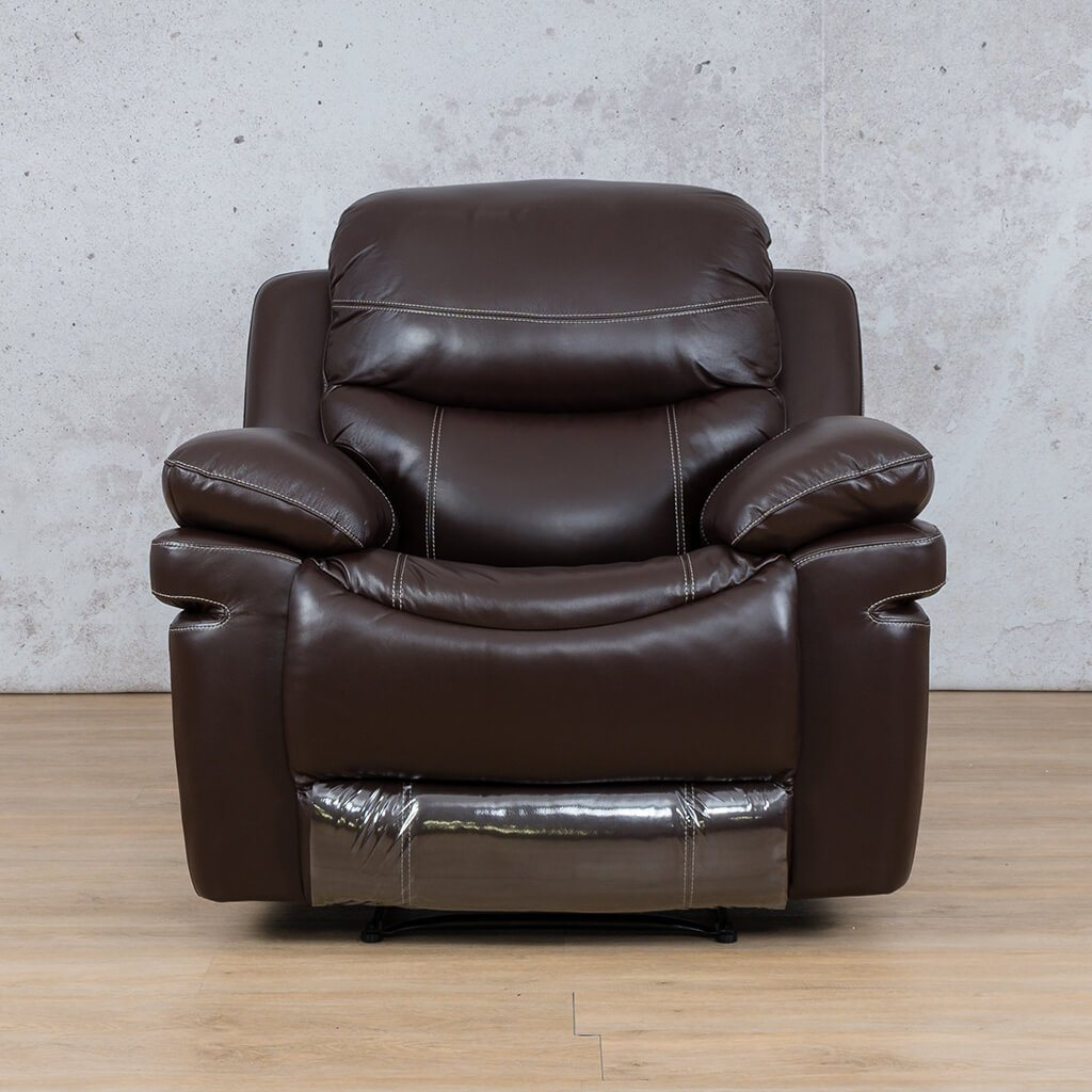 Geneva Leather Recliner Couch | 1 Seater Couch | Choc-G | Couches For Sale | Leather Gallery Couches