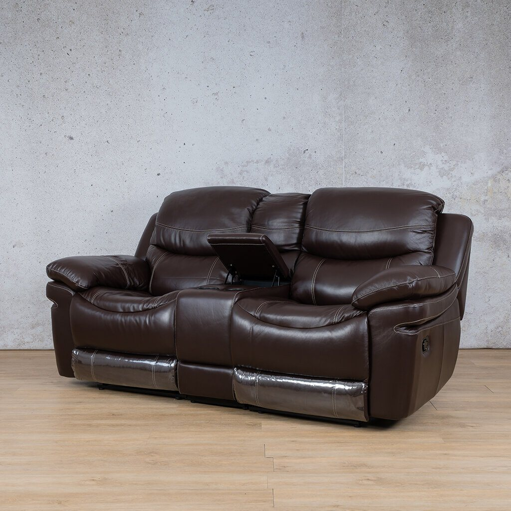 Geneva Leather Recliner Couch | Home Theatre | Choc-G | Font Angled | Couches For Sale | Leather Gallery Couches