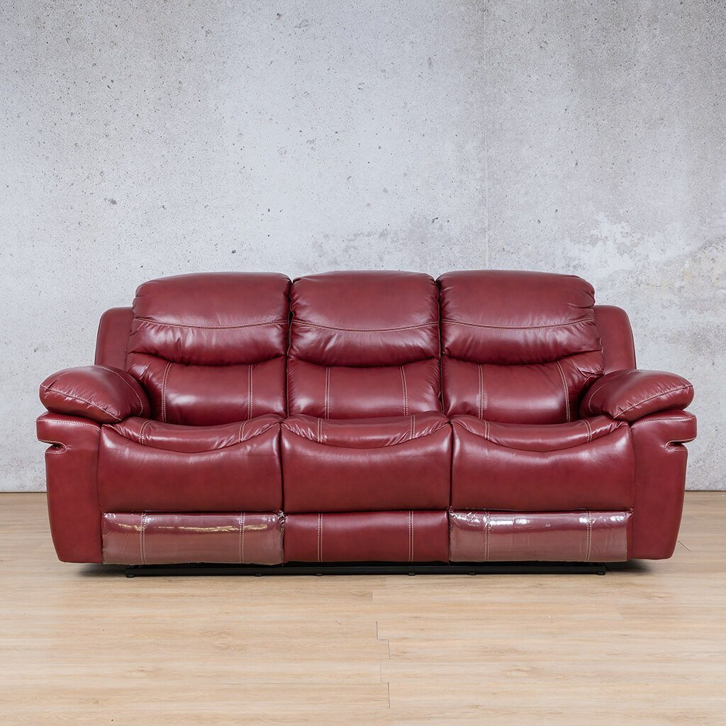 Geneva Leather Recliner Couch | 3 Seater Couch | Wine-G | Couches For Sale | Leather Gallery Couches