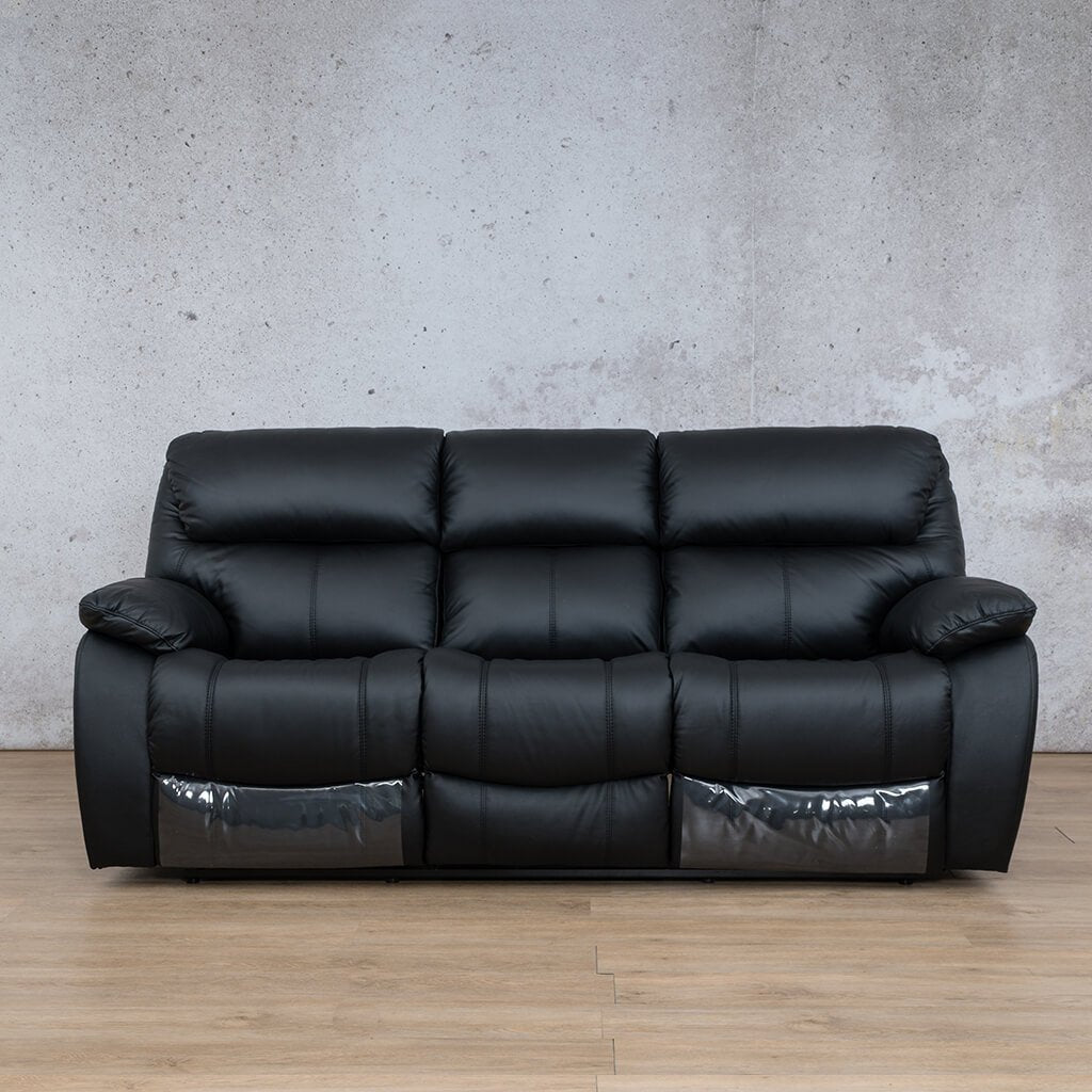 Cairo Leather Recliner Couch | 3 Seater Home Theatre | Black-K | Couches For Sale | Leather Gallery Couches