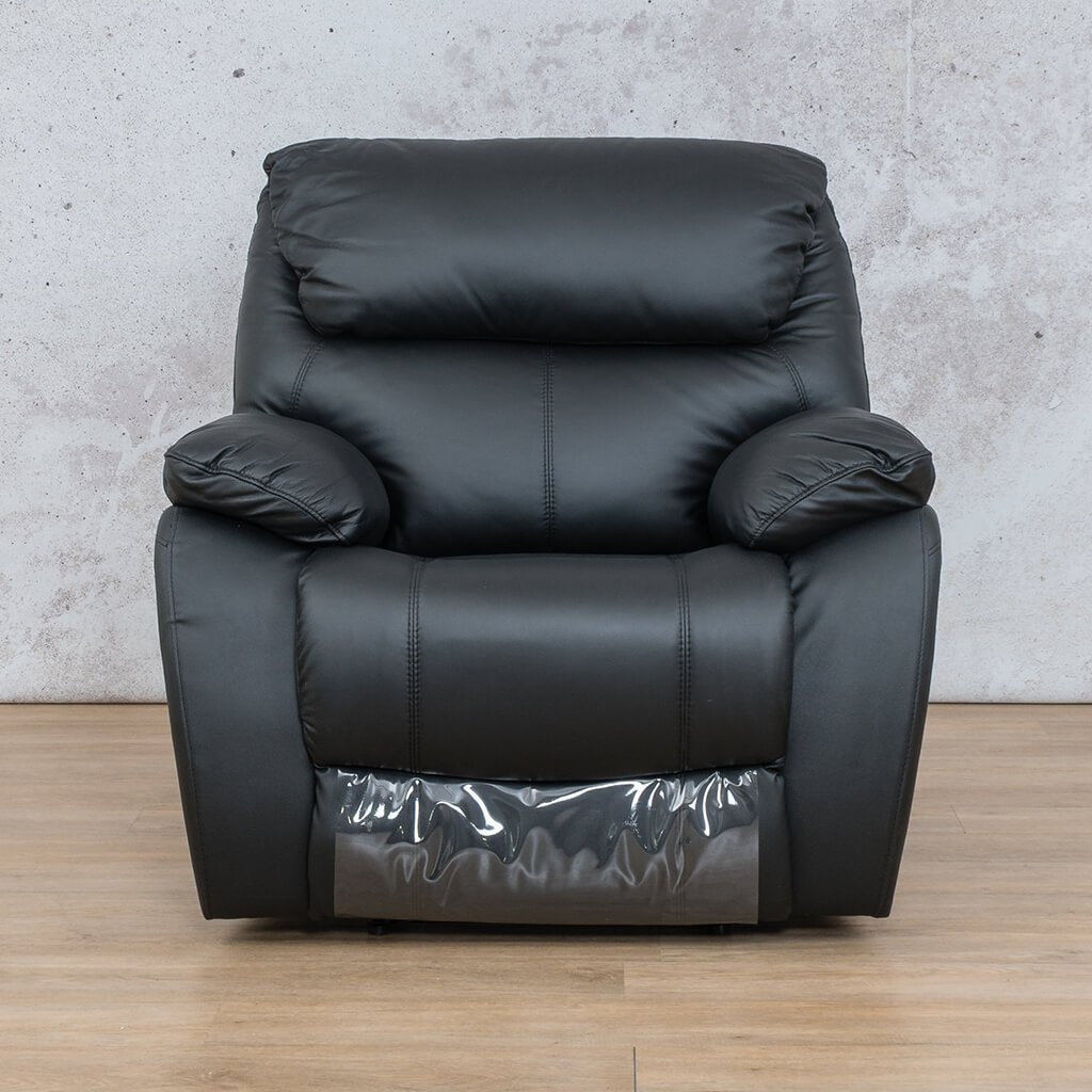 Cairo Leather Recliner Couch | 1 Seater Home Theatre | Black-K | Couches For Sale | Leather Gallery Couches
