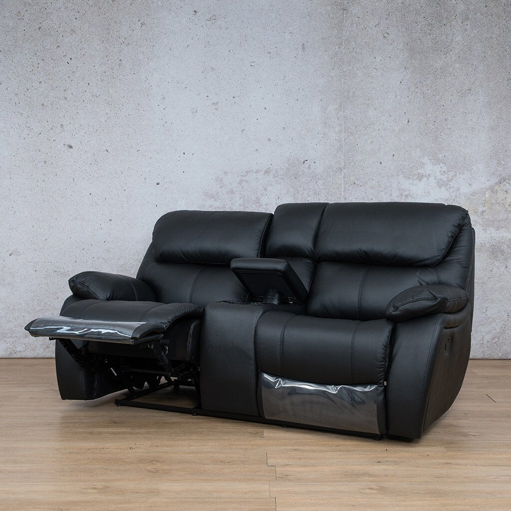 Cairo Leather Recliner Couch | 2 Seater Home Theatre | Black-K | Front Angled | Couches For Sale | Leather Gallery Couches