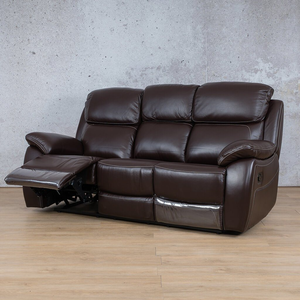 Lexington Leather Recliner Couch | 3 Seater Couch | Choc-Lex | Open Front Angled | Couches For Sale | Leather Gallery Couches