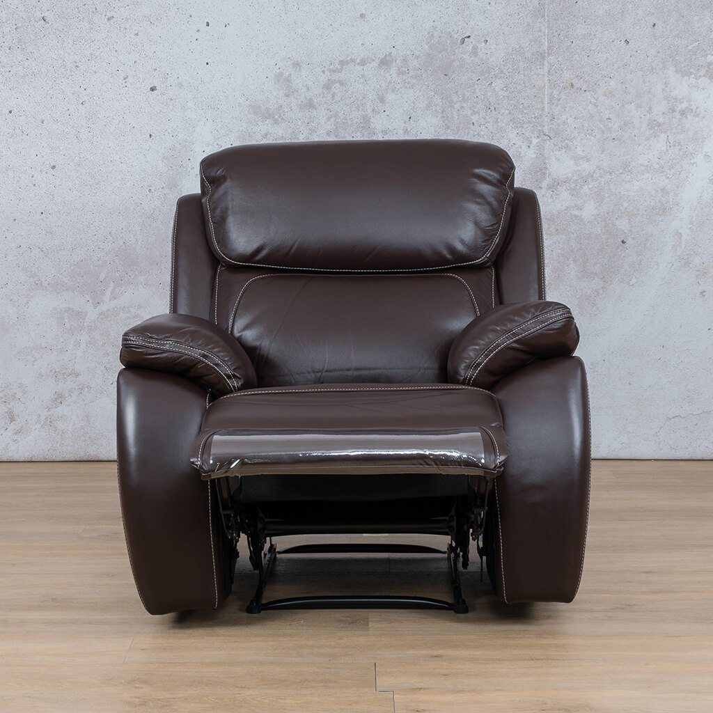 Lexington Leather Recliner Couch | 1 Seater Couch | Choc-Lex | Open | Couches For Sale | Leather Gallery Couches