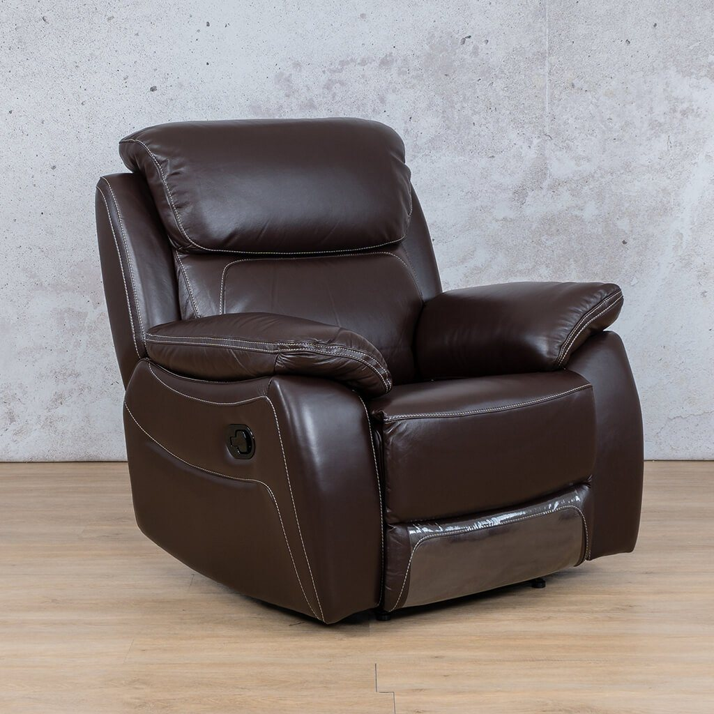 Lexington Leather Recliner Couch | 1 Seater Couch | Choc-Lex | Front Angled | Couches For Sale | Leather Gallery Couches