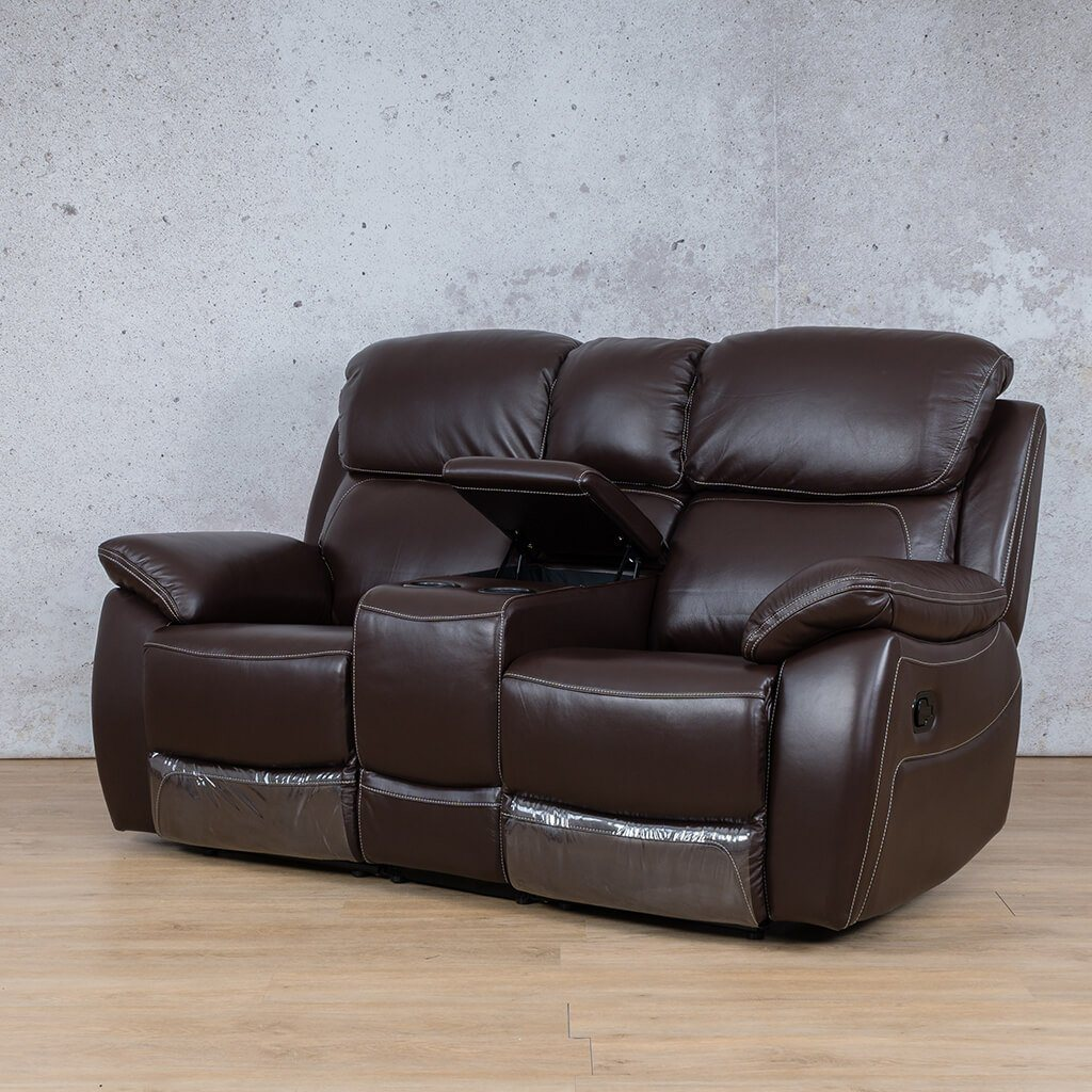 Lexington Leather Recliner Couch | 2 Seater Home Theatre | Choc-Lex | Front Angled | Couches For Sale | Leather Gallery Couches