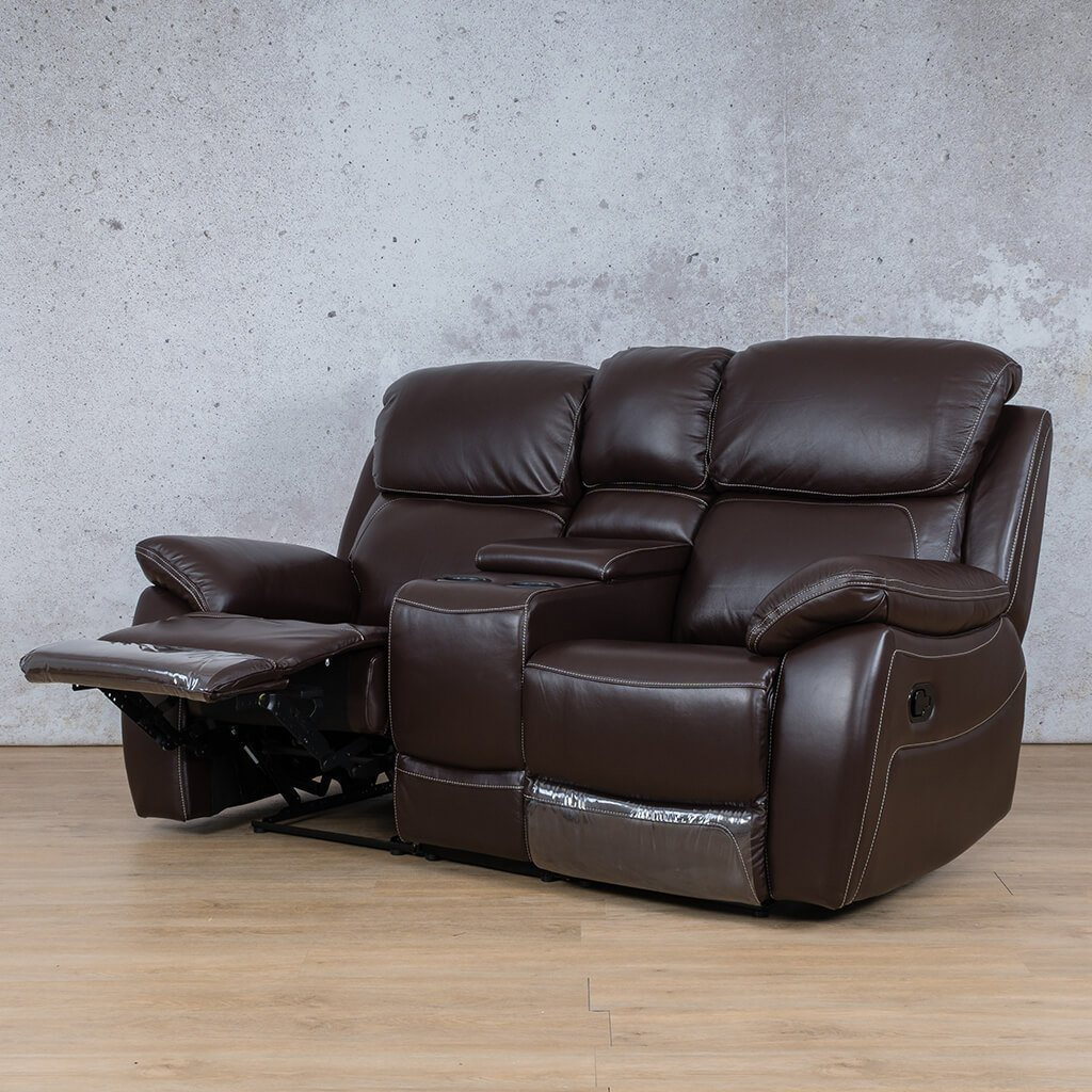 Lexington Leather Recliner Couch | 2 Seater Home Theatre | Choc-Lex | Open Front Angled | Couches For Sale | Leather Gallery Couches
