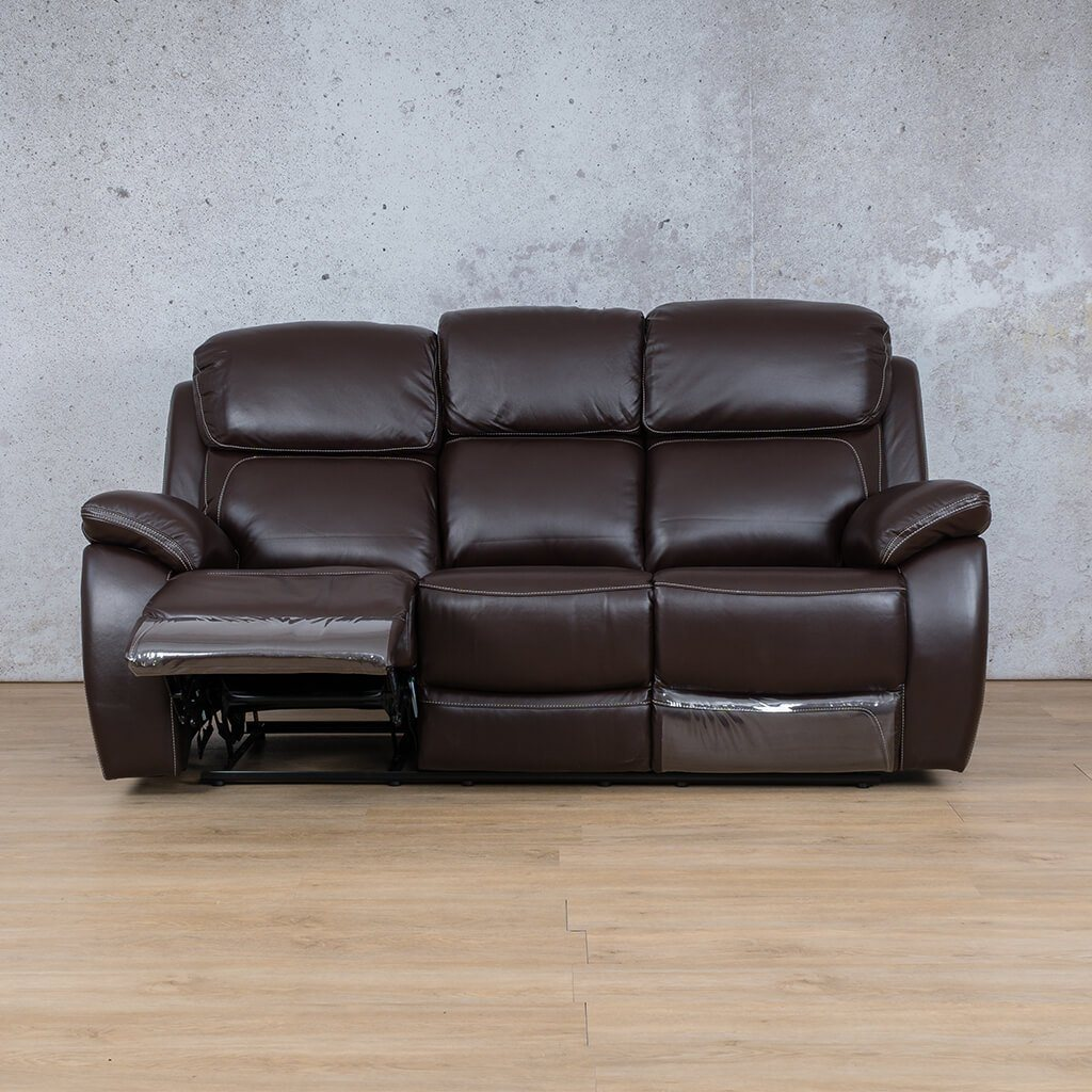 Lexington Leather Recliner Couch | 3 Seater Couch | Choc-Lex | Open | Couches For Sale | Leather Gallery Couches