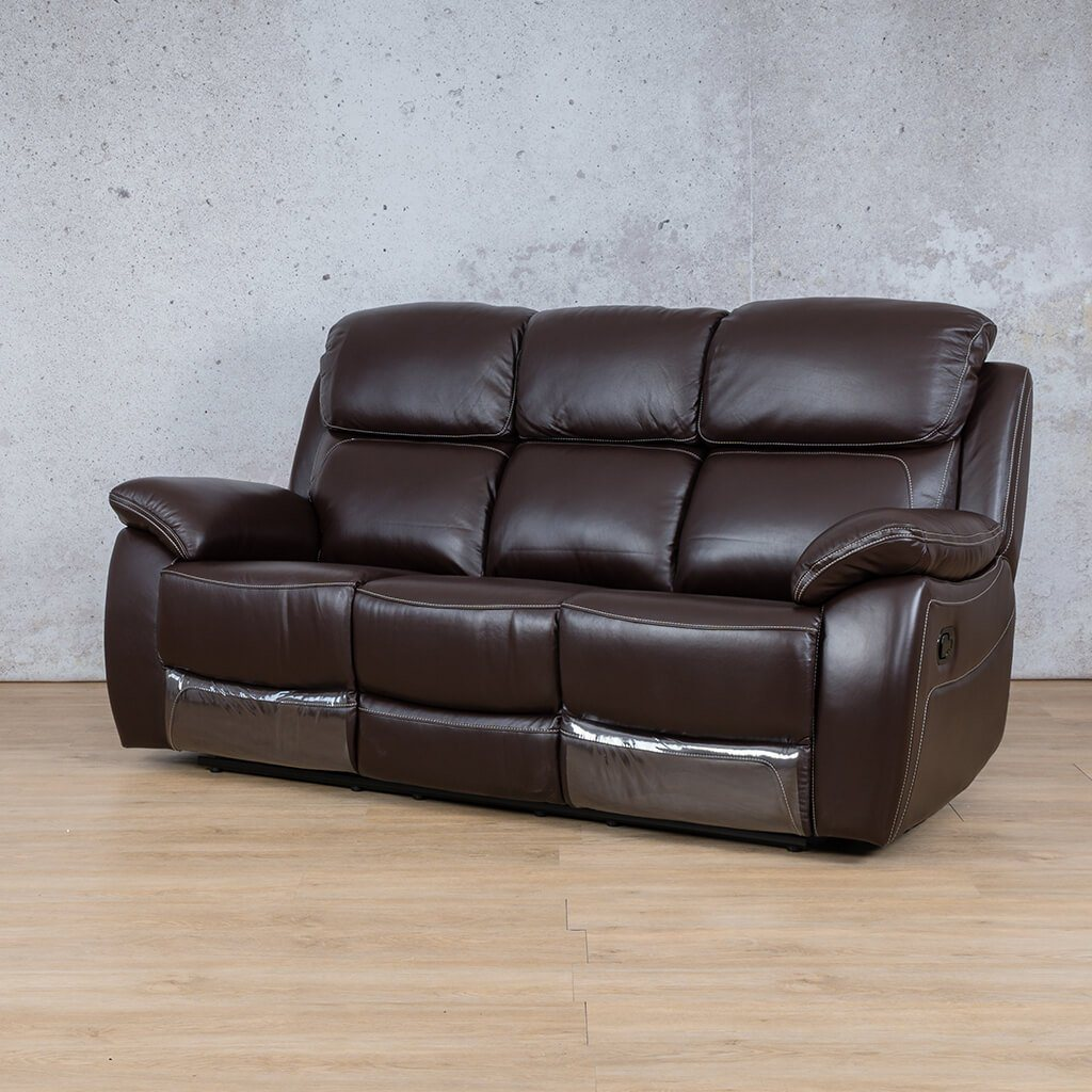 Lexington Leather Recliner Couch | 3 Seater Couch | Choc-Lex | Front Angled | Couches For Sale | Leather Gallery Couches