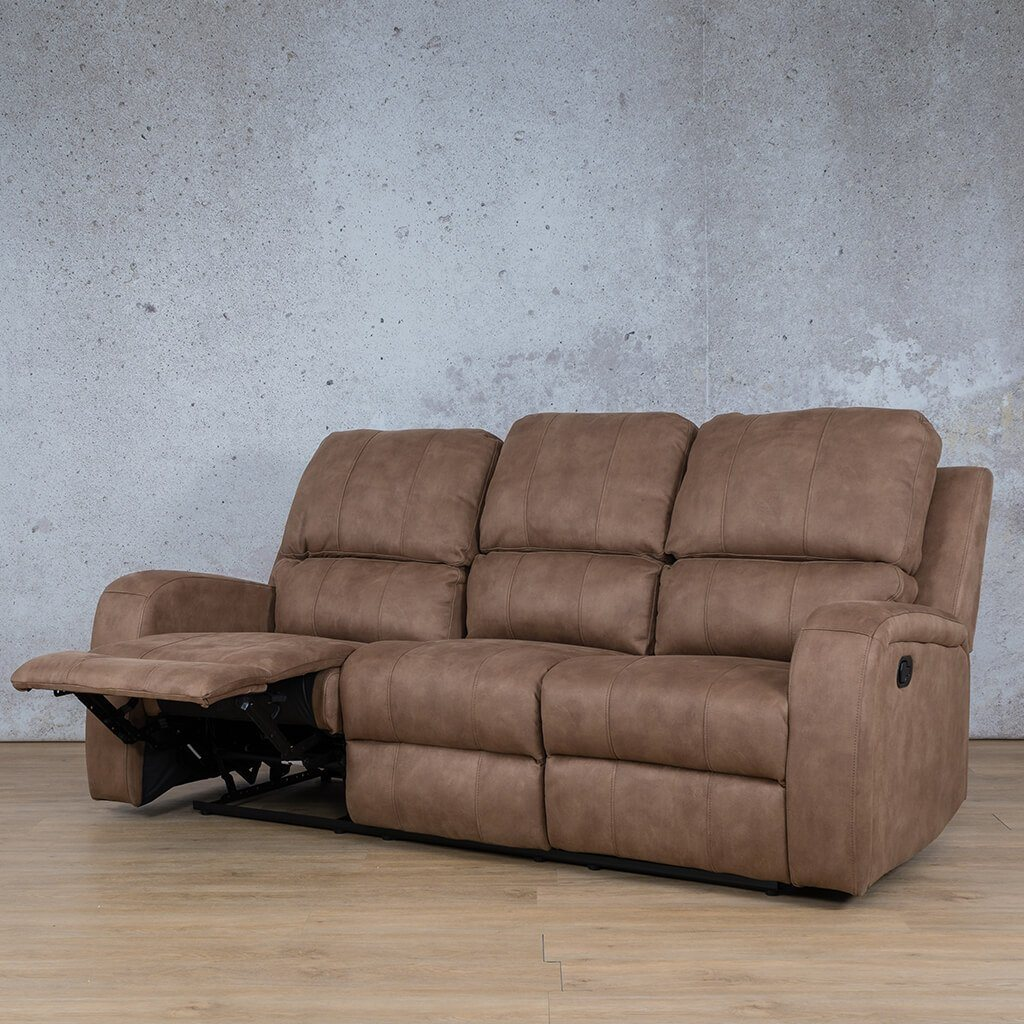 Orlando Fabric Recliner Couch | 3 Seater Couch | Light Brown-O | Front Angled | Couches For Sale | Leather Gallery Couches