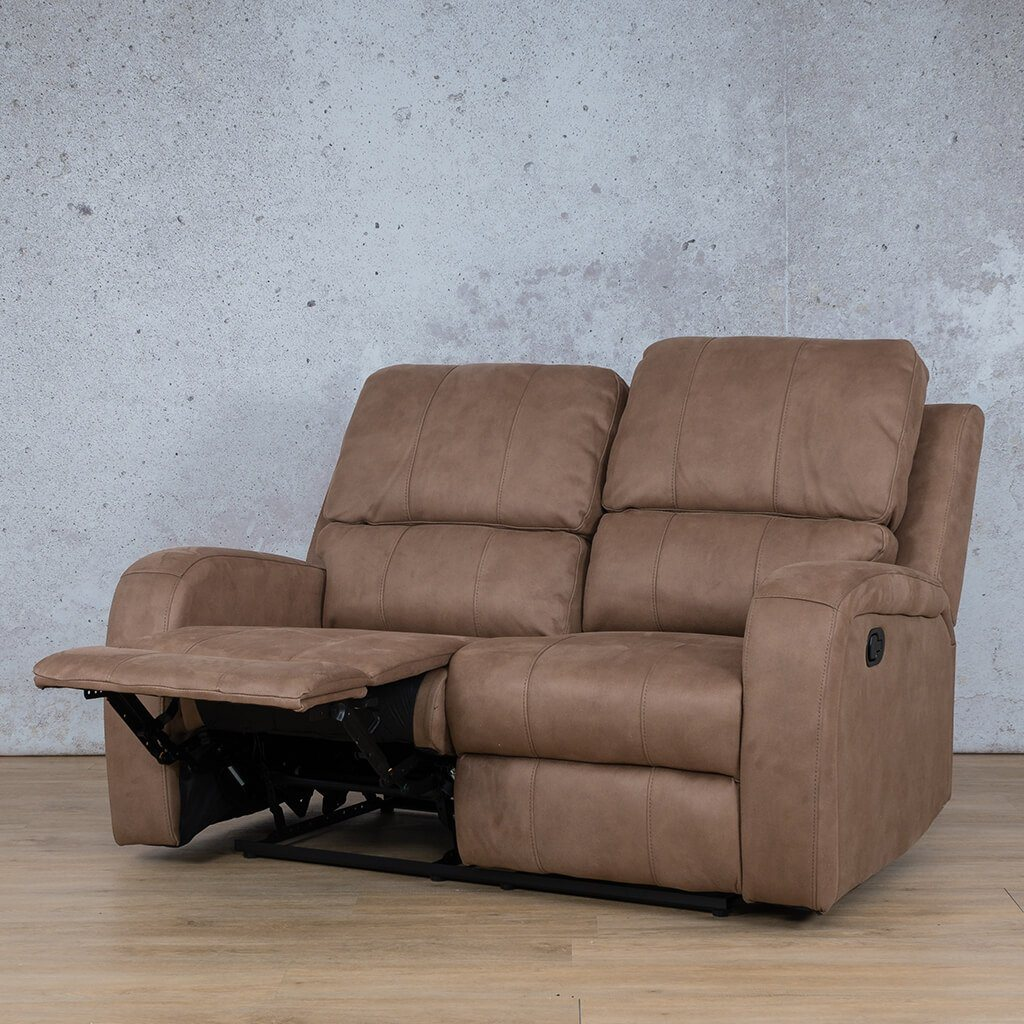 Orlando Fabric Recliner Couch | 2 Seater Couch | Light Brown-O | Front Angled | Couches For Sale | Leather Gallery Couches