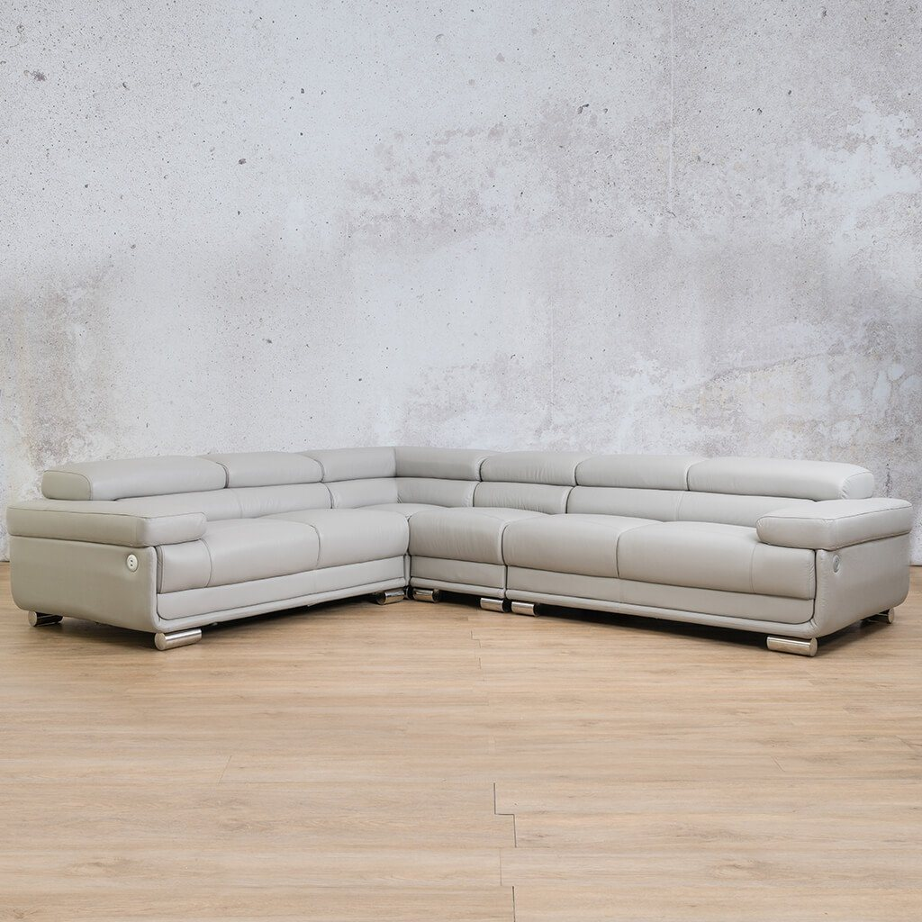 Tobago Leather Corner Couch | L-Sectional 5 Seater Couch | Grey-T | Front Angled | Couches For Sale | Leather Gallery Couches