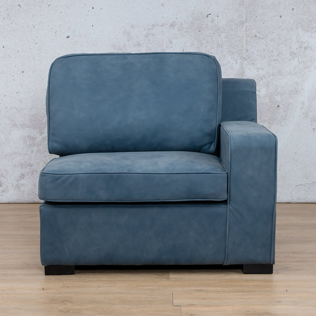 Arizona Leather Couch | 1 Seater Left Arm | Flux Blue | Leather Gallery