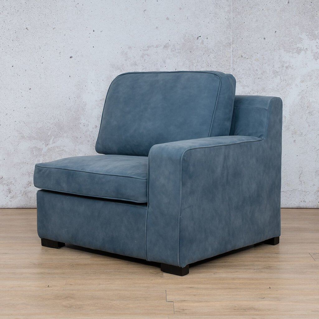 Arizona Leather | 1 Seater Left Arm Angled | Flux Blue | Leather Gallery