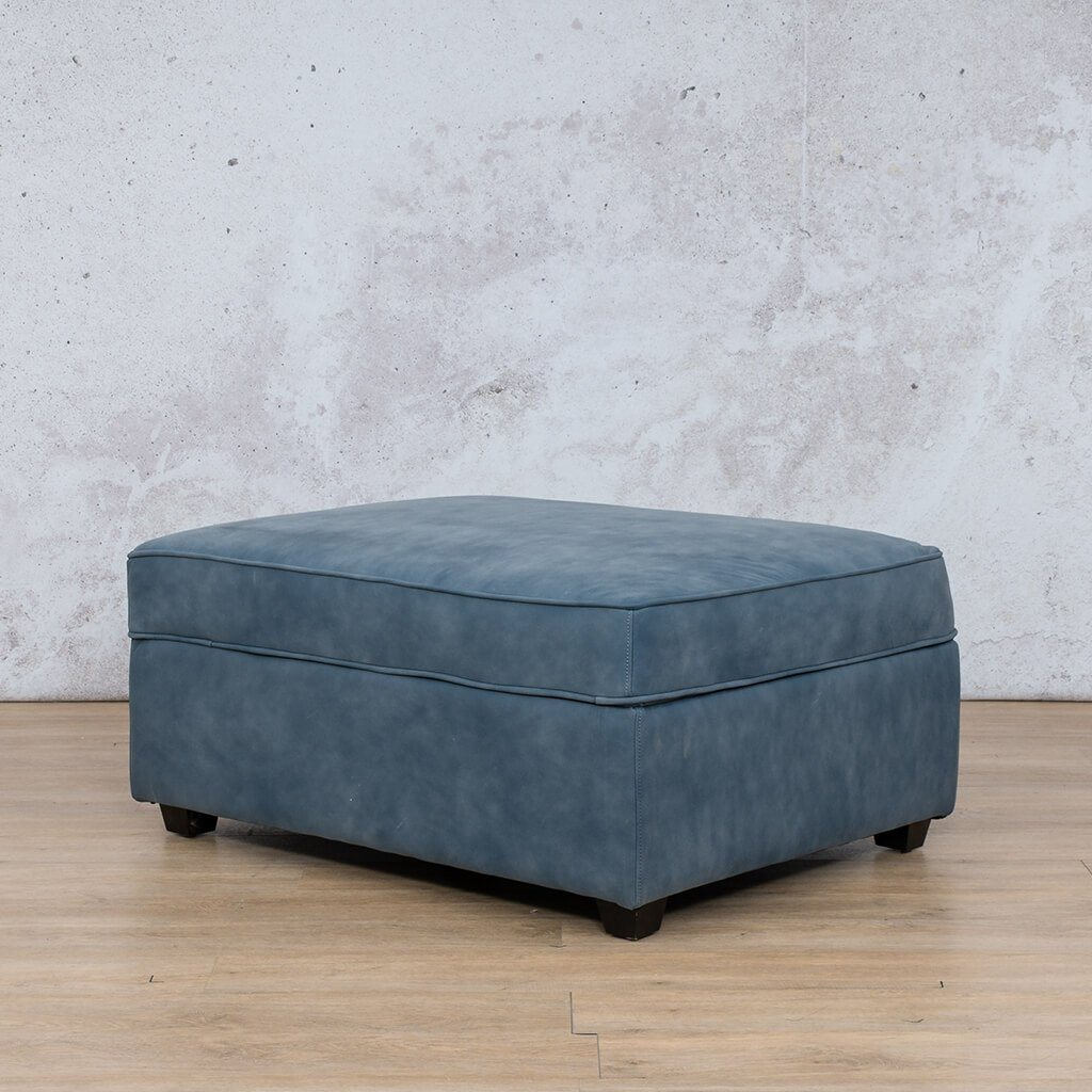 Arizona Leather Couch | Ottoman | Flux Blue | Leather Gallery