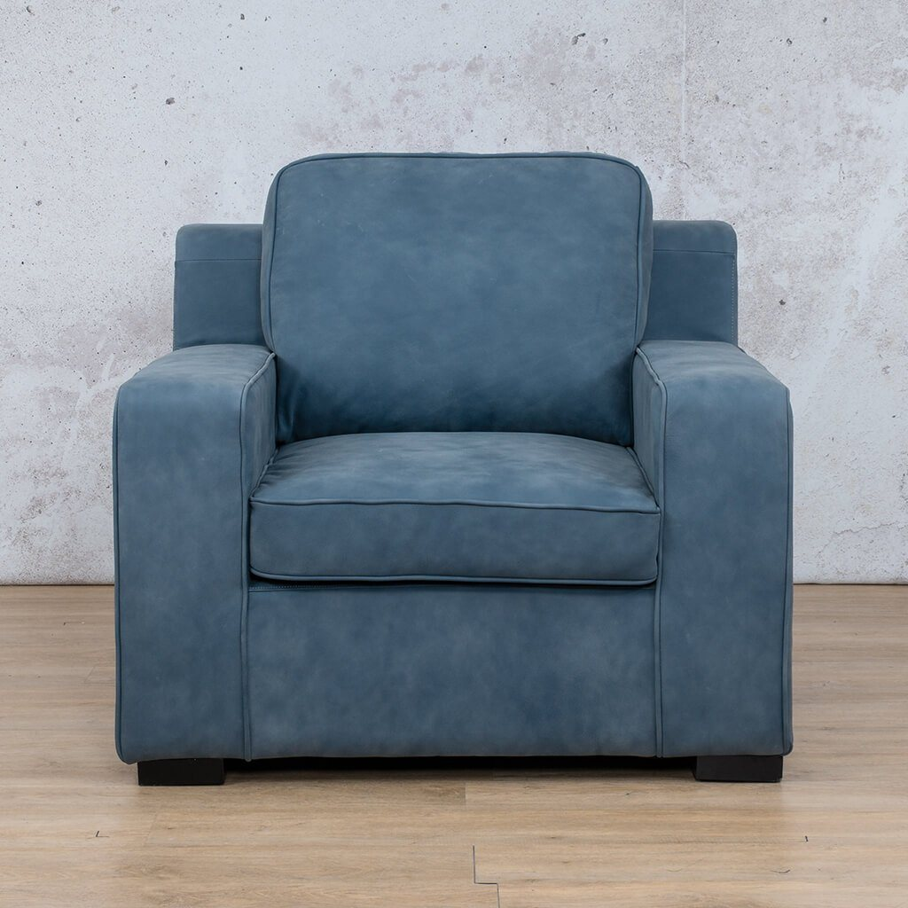 Arizona Leather Couch | 1 Seater | Flux Blue | Leather Gallery