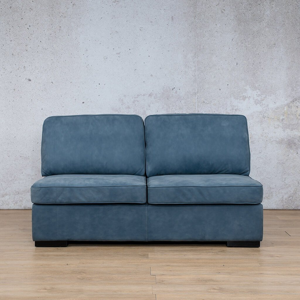 Arizona Leather Couch | Armless 2 Seater | Flux Blue | Leather Gallery