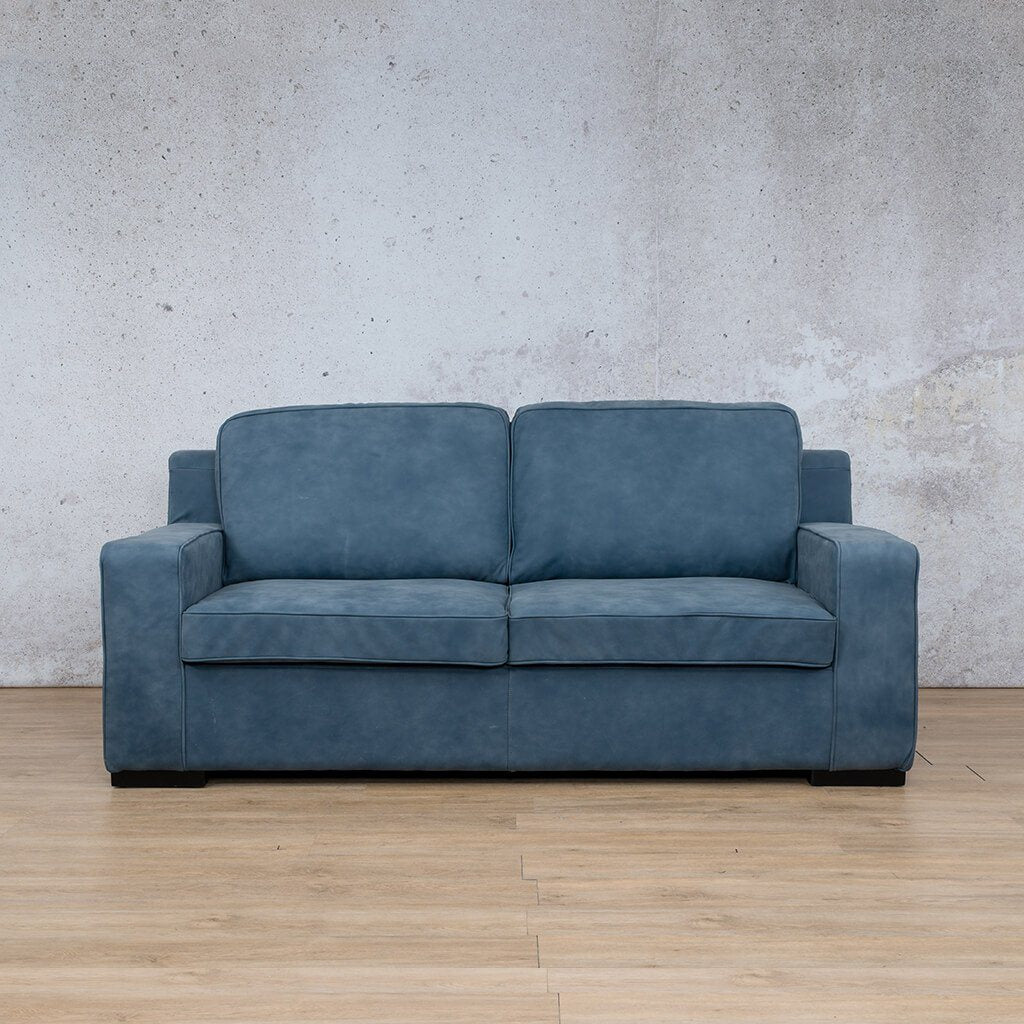 Arizona Leather Couch | 3 Seater | Flux Blue | Leather Gallery