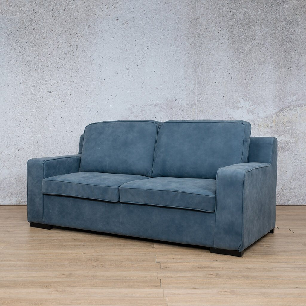 Arizona Leather Couch | 3 seater couch | Flux Blue | Front Angled | Couches for Sale | Leather Gallery Couches
