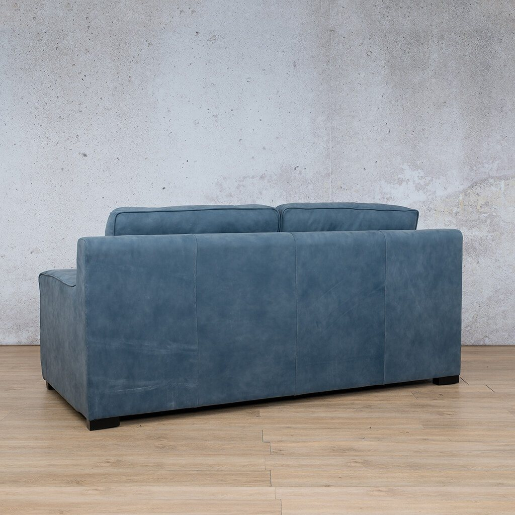 Arizona Leather Couch | 3 seater couch | Flux Blue | Back Angled | Couches for Sale | Leather Gallery Couches