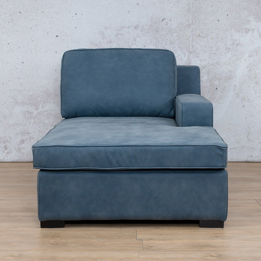 Arizona Leather Couch | Chaise Left Arm | Flux Blue | Leather Gallery