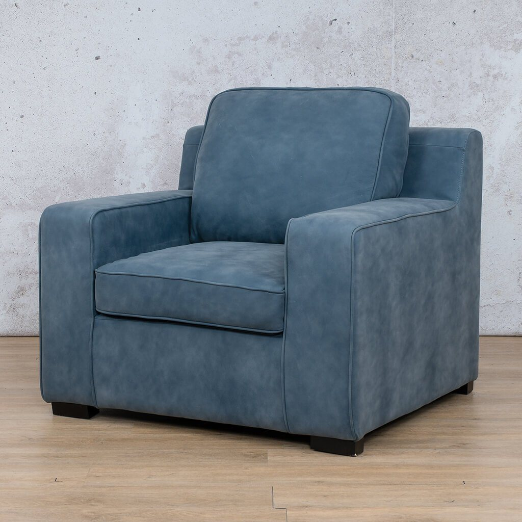 Arizona Leather Couch | 1 seater couch | Flux Blue | Front Angled | Couches for Sale | Leather Gallery Couches