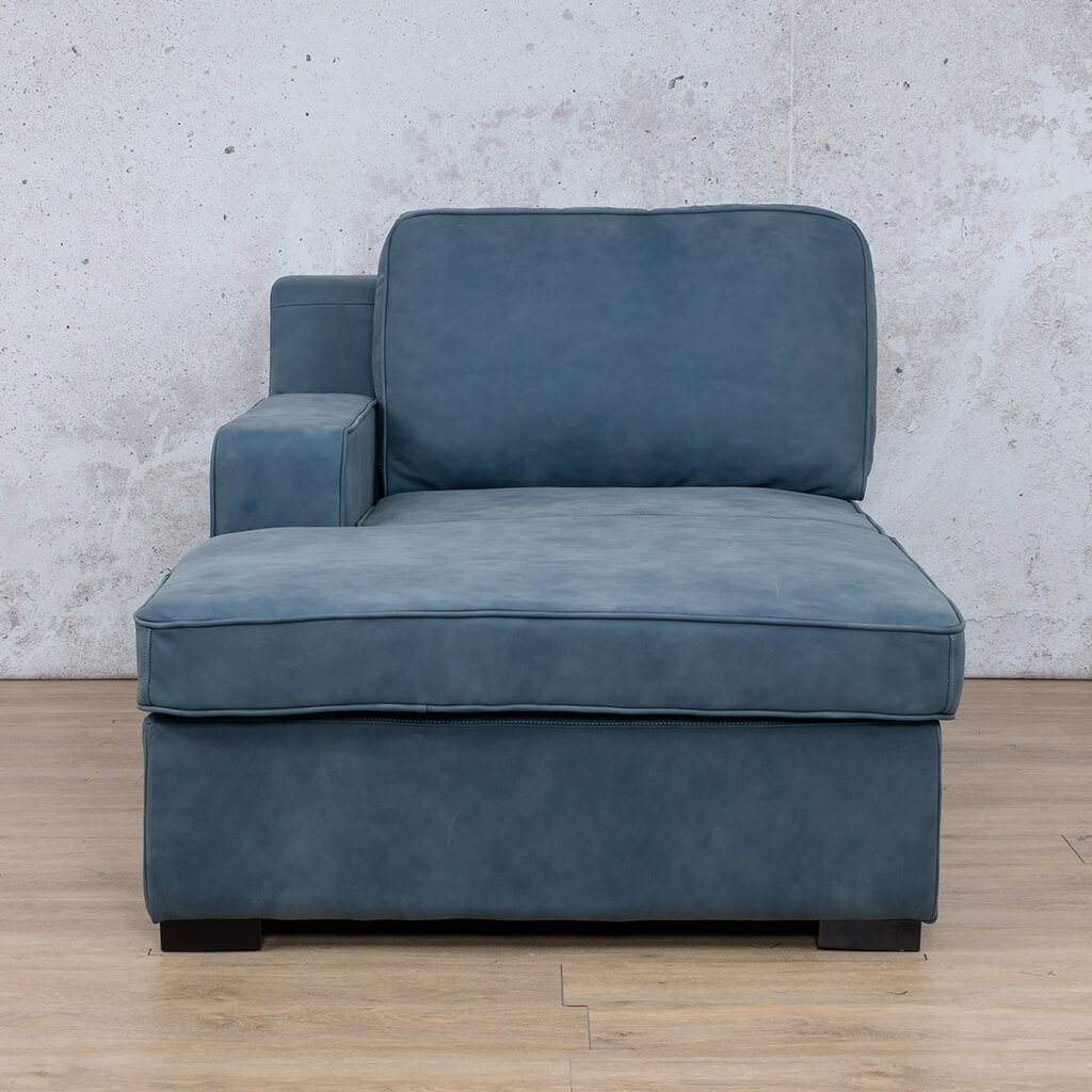Arizona Leather Couch | Chaise Right Arm | Flux Blue | Leather Gallery